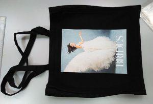 Svart prøvepose fra britisk kunde ble trykt av dtg tekstil skriver